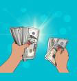 woman hand giving money vector image