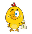 yellow chick character winking and holding a money vector image vector image