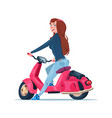 young girl riding electric scooter red vintage vector image