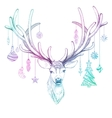 Christmas deer with decoration EPS10 vector image