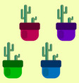 set of four colored cacti in pots vector image