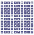 100 cartography icons set grunge sapphire vector image vector image