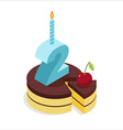 2 birthday cake isometrics Number two with candle vector image