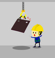 accident from lifting chain holding heavy metal vector image vector image