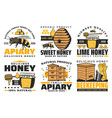 apiary honey and beekeeping farm icons vector image vector image