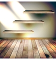 Beige Blue wall with lights wooden floor EPS 10 vector image vector image