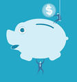 businessman putting coin into piggy bank vector image vector image