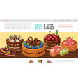 cartoon tasty cakes web page template vector image vector image