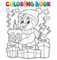 coloring book penguin with cake theme 2 vector image vector image