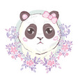 cute panda face icon vector image vector image