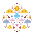 Cute umbrellas raindrops flowers clouds characters