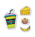 doodle badges patches elements with breakfast vector image vector image