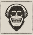 funny monkey listening to music grunge t vector image