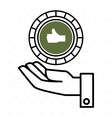 hand green circle isolated icon design vector image vector image