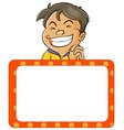 happy boy and board template vector image vector image