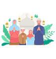 happy family greeting and celebrating eid mubarak vector image vector image