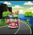 happy family rides in car on vacation vector image vector image