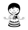 happy girl with birthday cake vector image vector image
