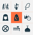 holiday icons set with no alcohol islam minaret vector image vector image
