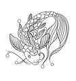 japan carp in coloring page for childrean and vector image vector image