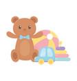 kids toys object amusing cartoon teddy bear ball vector image vector image
