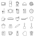 Kitchen line icons on white background vector image