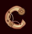 letter c of mechanic alphabet steampunk font vector image vector image