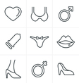 Line Icons Style Sex And XXX Icons Set vector image