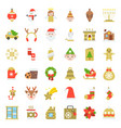 merry christmas icon set 5 flat style vector image vector image