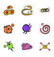 microorganism icons set cartoon style vector image vector image