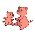 mother pig about to hug her baby that runs vector image