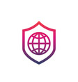 network security icon with shield and globe vector image