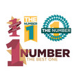 number one emblems set with stars and ribbons vector image vector image