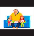 old grandparent with grandchildren sitting vector image vector image