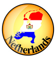 orange button with the image maps of Netherlands vector image