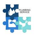 plumbing repair puzzle symbol vector image vector image