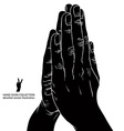 Praying hands detailed black and white vector image vector image
