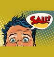 sales man eyes close-up vector image vector image