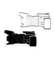 side view white and black camera vintage icon vector image vector image