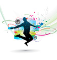 silhouette of man dancer posing vector image