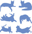 silhouettes of a reclining blue cats icon vector image vector image