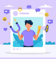social media influencer with man vector image vector image
