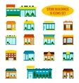 Store building icons set vector image vector image
