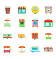 street market icon set cartoon style vector image vector image