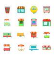 street market icon set cartoon style vector image
