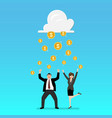 success businessman with cloud and money rain vector image vector image