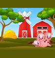 three little pigs are playing at farm vector image vector image