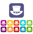 top hat with buckle icons set flat vector image vector image