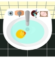 top view on a sink in a bathroom vector image