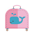 travel children suitcase with whale vector image vector image